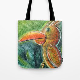 Bird For Children Pastel Chalk Drawing Tote Bag