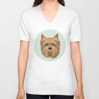 yorkie V-neck T-shirts featuring Yorkshire Terrier Pattern by Mari Anrua