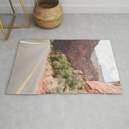 Road Trough Zion National Park Photo | Colors Of Utah Landscape Art Print | USA Travel Photography Rug