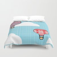 hot air balloons Duvet Covers featuring Cozy Hot Air Balloons by The Wellington Boot