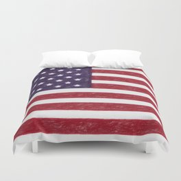 United states national flag - the Crayon and colored pencils version Duvet Cover