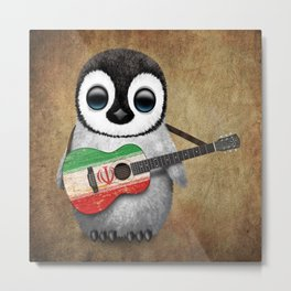 Baby Penguin Playing Iranian Flag Acoustic Guitar Metal Print