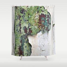 white green paint rust metal texture pattern Shower Curtain