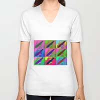 led zeppelin V-neck T-shirts featuring Zeppelin Warhol by Sara PixelPixie