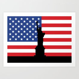 United states of America flag and Statue of Liberty in New York Art Print