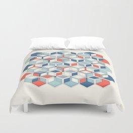 Soft Red, White & Blue Hexagon Pattern Play Duvet Cover
