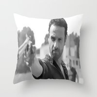 rick grimes Throw Pillows featuring Rick Grimes by OliGilbert