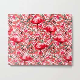 Flamingos and Flowers Metal Print