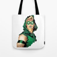 green arrow Tote Bags featuring Green Arrow by Andrew Markovits