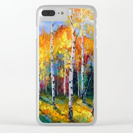 Autumn birches on the edge Clear iPhone Case