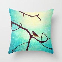 The Bird (Textured blue sky and little bird in a branch tree) Throw Pillow