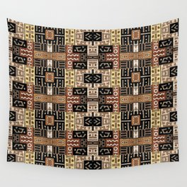 Runic Carved Wood Effect Tribal Pattern Wall Tapestry