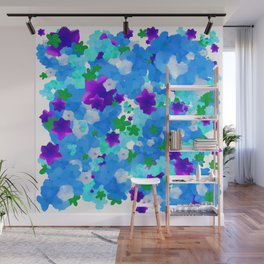 Bright Floral Pattern with Girly Flowers in Preppy Blue and Purple Wall Mural