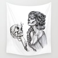 sugar skull Wall Tapestries featuring Sugar Skull by April Alayne