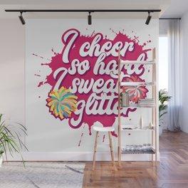 Funny Cheerleading Coach Girl Teen Cheer Squat Cheerleader Pink Pompom Fun Humor Girly Gift Idea Wall Mural
