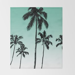 Teal tropical palms Throw Blanket