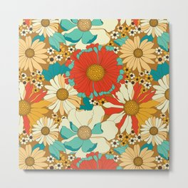 Red, Orange, Turquoise & Brown Retro Floral Pattern Metal Print