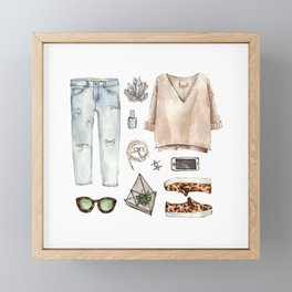 watercolor sketch. fashion outfit, casual style. Framed Mini Art Print