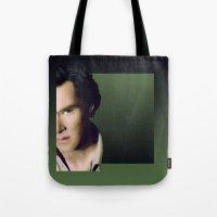 benedict cumberbatch Tote Bags featuring Benedict Cumberbatch by GinHans