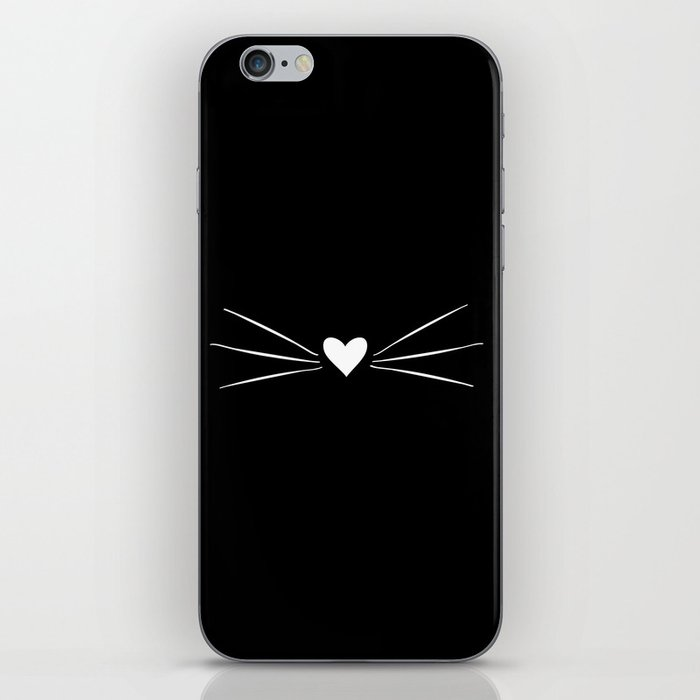 Cat Heart Nose & Whiskers White on Black iPhone Skin