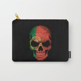 Dark Skull with Flag of Portugal Carry-All Pouch