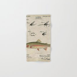 Vintage Rainbow Trout Fly Fishing Lure Patent Game Fish Identification Chart Hand & Bath Towel