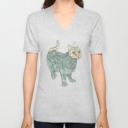 cat & grass Unisex V-Neck