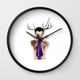 Man Antlers Surreal Collage Wall Clock