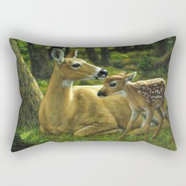 Whitetail Deer and Cute Spring Fawn Rectangular Pillow