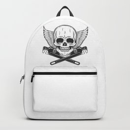 Vintage monochrome skull builder from new construction with crossed wrenches plumbing and gas pipes with wings Backpack