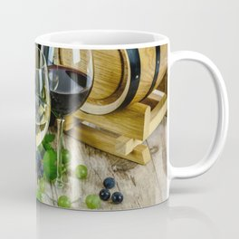 Glasses of Wine plus Grapes and Barrel Coffee Mug
