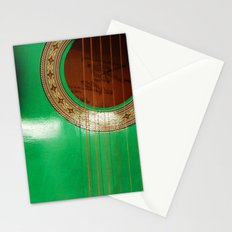 Green guitar Stationery Cards