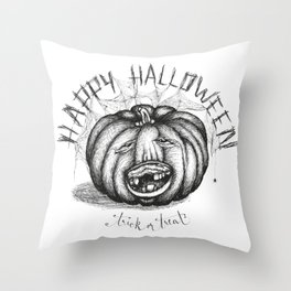 Hand drawn handwriting lettering happy halloween spooky smiling toothless pumpkin Throw Pillow