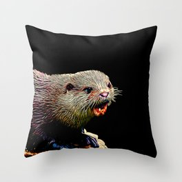 fish otter on a rock vector art Throw Pillow