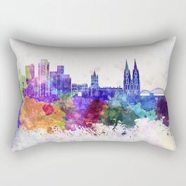 Cologne skyline in watercolor background Rectangular Pillow