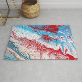 Marble Red Blue Paint Splatter Abstract Painting by Jodilynpaintings Red Rug