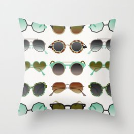 Sunglasses Collection – Mint & Tan Palette Throw Pillow