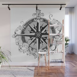 Black and White Scrolling Compass Rose Wall Mural