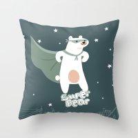 superheros Throw Pillows featuring superbear by BabyKarot