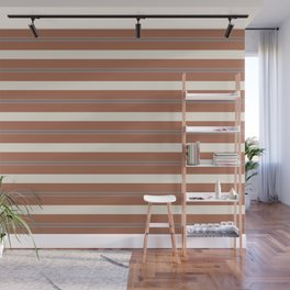 Slate Violet Gray and Creamy Off White Stripes Thick and Thin Horizontal Lines on Cavern Clay Wall Mural