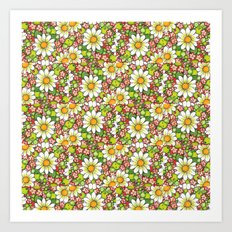 Christmas Daisy and Berries Pattern Art Print