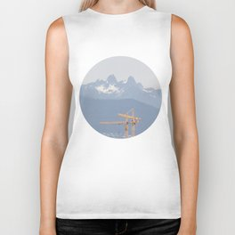 Mountains and cranes Vancouver Biker Tank