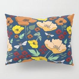 Flower Petals and Bees Navy Pillow Sham