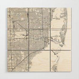 Miami White Map Wood Wall Art
