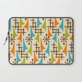 Retro Mid Century Modern Atomic Wing Pattern 421 Brown Orange Turquoise and Olive Green Laptop Sleeve