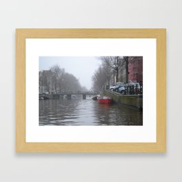 Red Boat on the Canal - M Framed Art Print