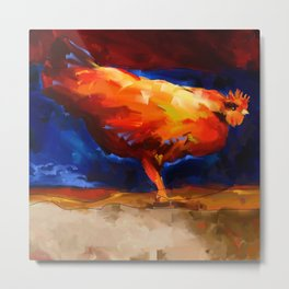 Fire Rooster Metal Print