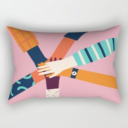 Holding hands circle Rectangular Pillow