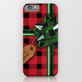 Red Christmas gift wrap iPhone Case