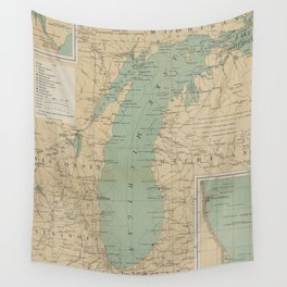 Vintage Lake Michigan Lighthouse Map (1898) Wall Tapestry